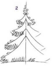 Нарисовать елку поэтапно