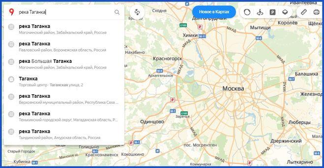 Поиск реки Таганки на Яндекс-карте