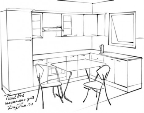 Как нарисовать кухню карандашом