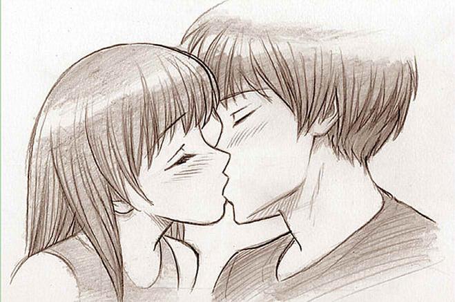 Рисунки поцелуи карандашом поэтапно