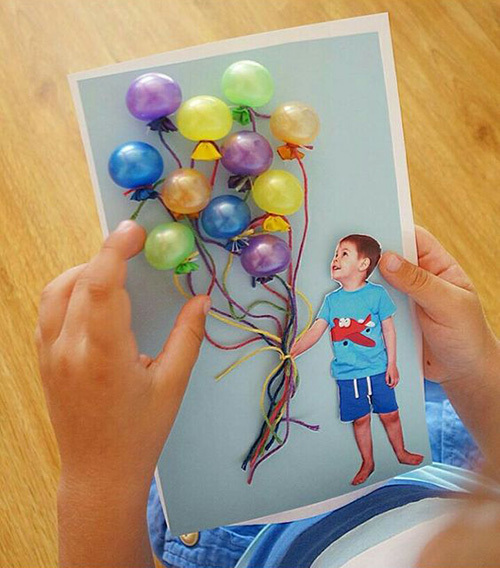 Открытка из шариков маме