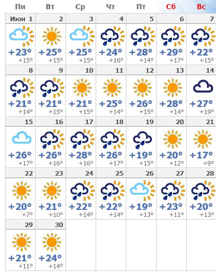 Погода в Рязани в июне