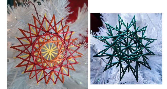 поделка для Нового года снежинка из газетных трубочек