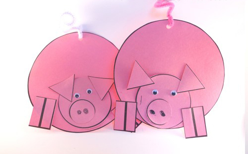 новогодняя поделка, аппликация со свиньей, как сделать аппликацию со свиньей поэтапно