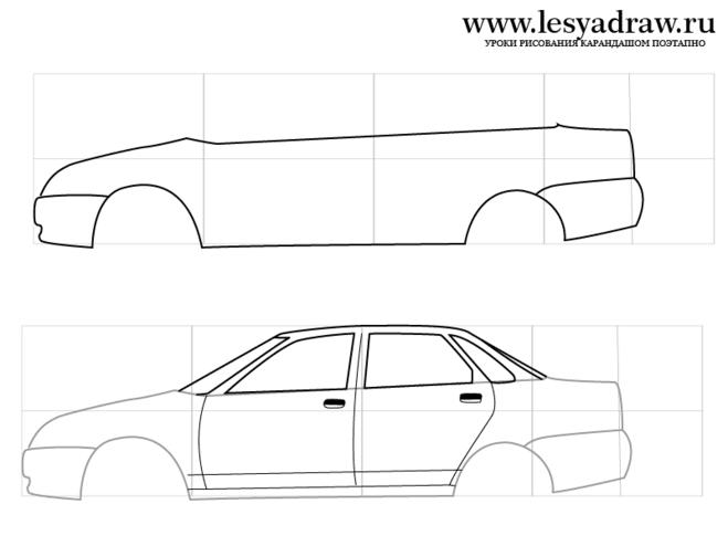 Как нарисовать машину лада приора карандашом поэтапно
