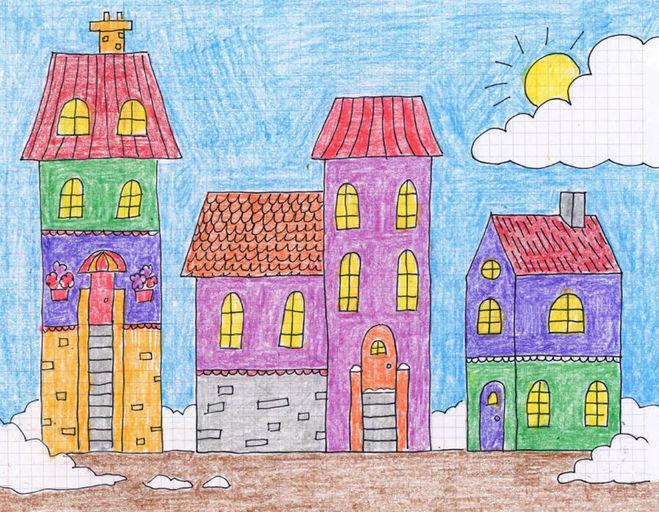 как нарисовать город карандашом поэтапно детям 4-6 лет мастер-класс