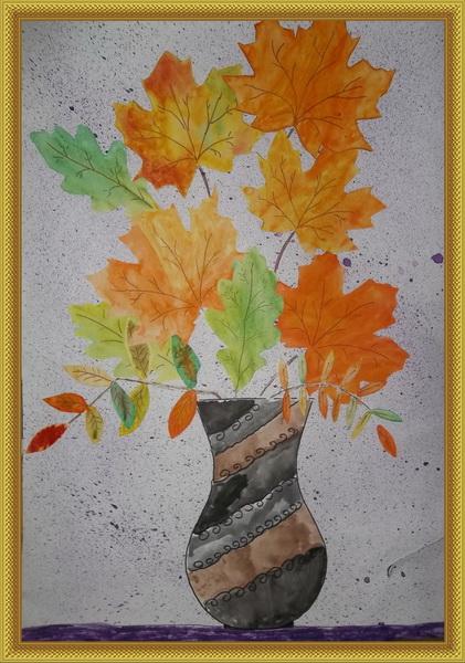 Букет с осенними листьями, доставка цветов пог уфа черниковка