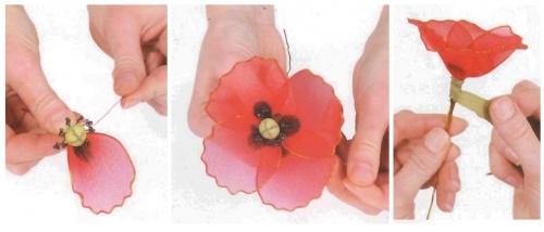 Капроновые ленты цветы своими руками