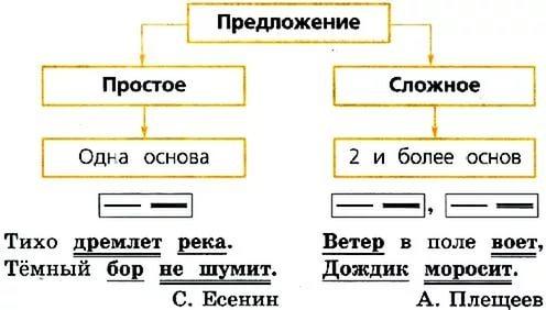 Пример простого предложения и его схема