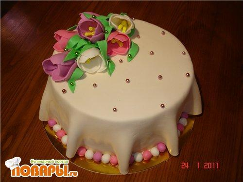 Красивый торт своими руками с мастикой рецепт с