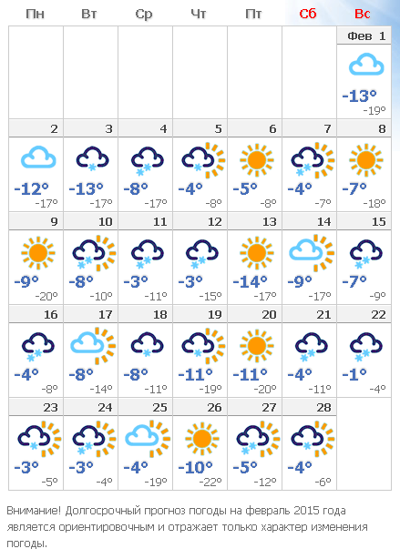 погода на февраль 2016г обучения