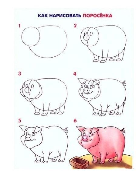 """Как нарисовать """"Три поросенка"""" карандашом поэтапно?"""