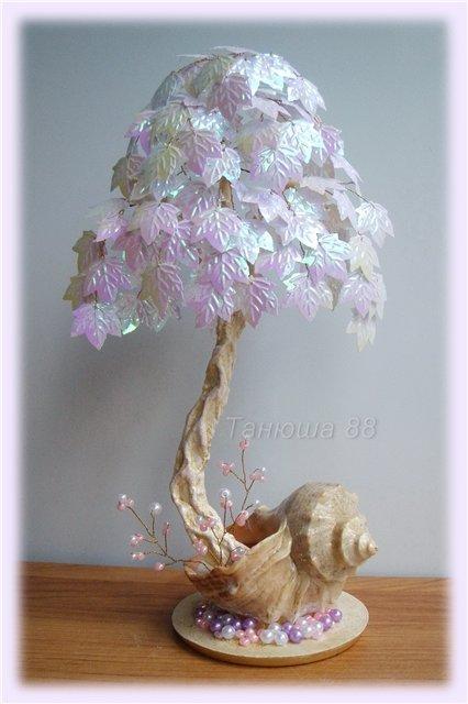Деревья из розового бисера мастер класс с пошаговым