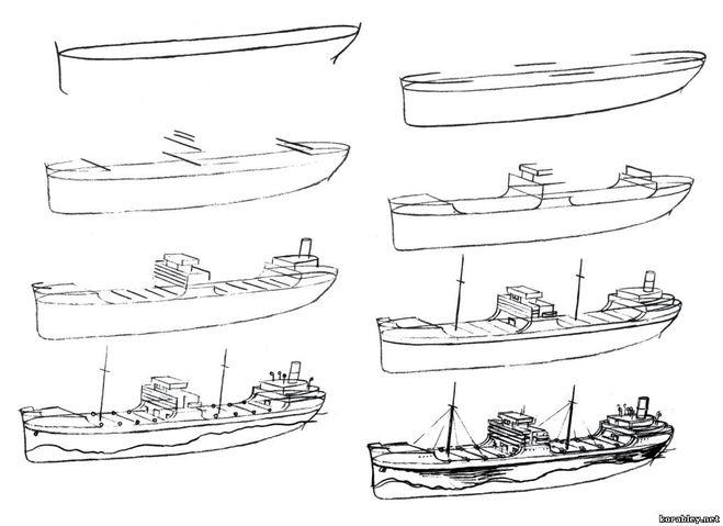 как нарисовать военную лодку карандашом