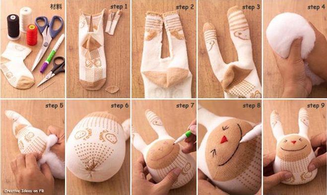 Зайчик из носка своими руками для детей