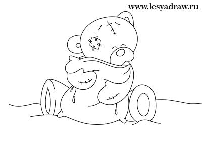 рисунок мишка с сердечком
