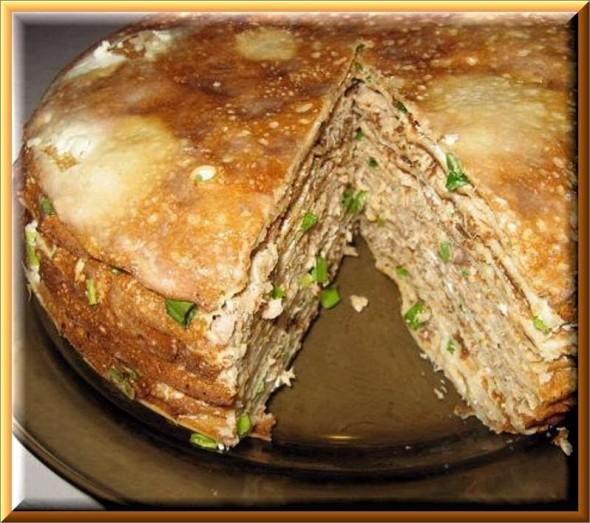 торт из яичных блинов с куриной начинкой рецепт с фото