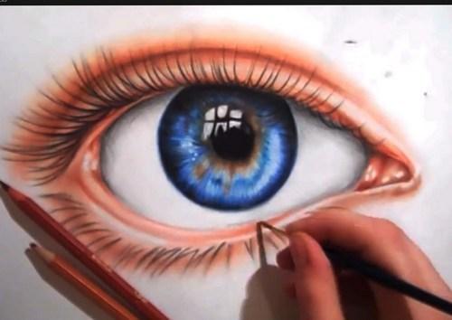 рисование глаза цветными карандашами
