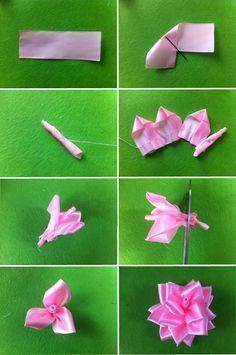 роза из лент, как сделать розу своими руками пошагово