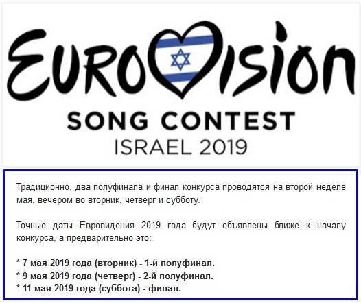 Евровидение 2019 даты проведения