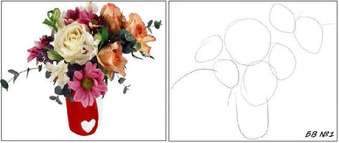 На учится рисовать вазу