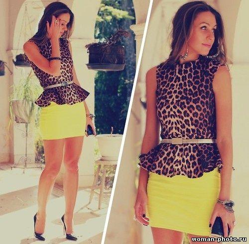 Синяя блузка желтая юбка доставка