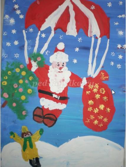 Как нарисовать Деда Мороза на парашюте поэтапно детям 5-8 лет мастер-классm