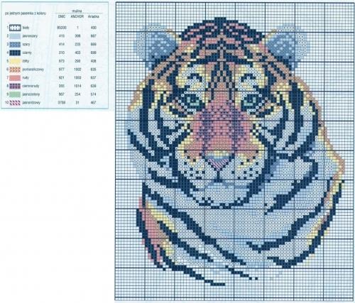 Схему вышивка крестом тигры 96