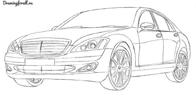 поэтапное рисование автомобиля мерседес 124