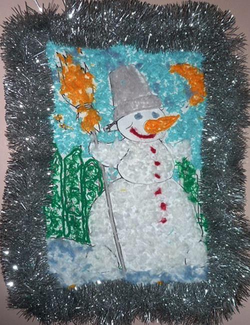 поделка снеговик из крупы, поделка снеговик, новогодняя поделка. поделки с детьми к Новому году