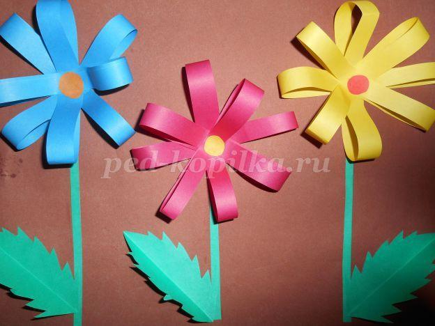 Цветы из цветной бумаги своими руками для детей видео 129