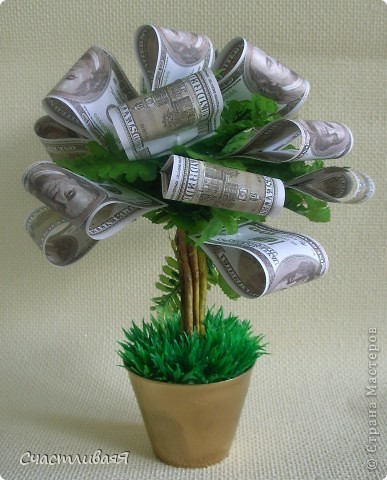 Как сделать дерево топиарий из денег