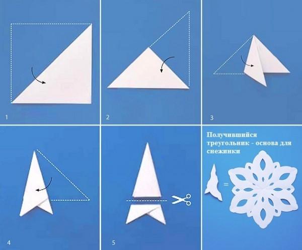 Как сделать из бумаги снежинку видео на русском