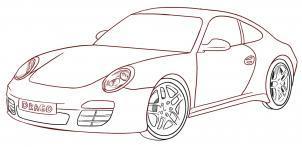 как нарисовать машину porsche поэтапно карандашом