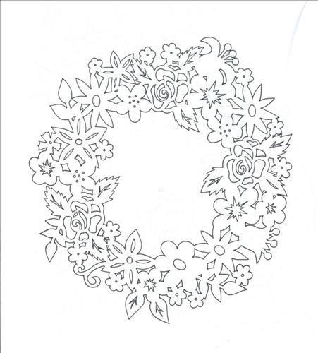вытынанка цветочный венок