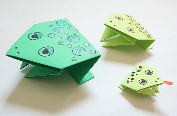 прыгающую лягушку оригами из бумаги