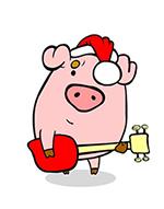 поросенок в шапке Деда Мороза на Новый год Свиньи