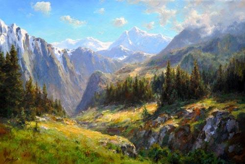 По шагам как рисовать горный пейзаж