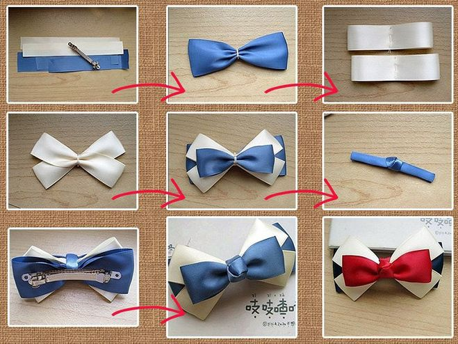 Делаем заколки из ленточек галстук