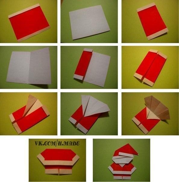 Как сделать санту из бумаги фото