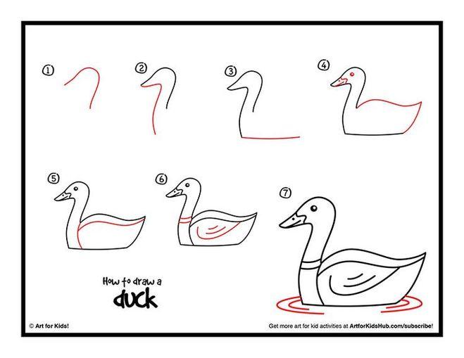 Как нарисовать утёнка карандашом поэтапно для начинающих