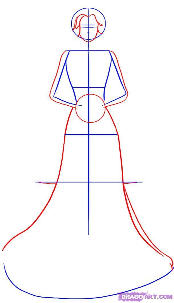 Как нарисовать жениха с невестой поэтапно