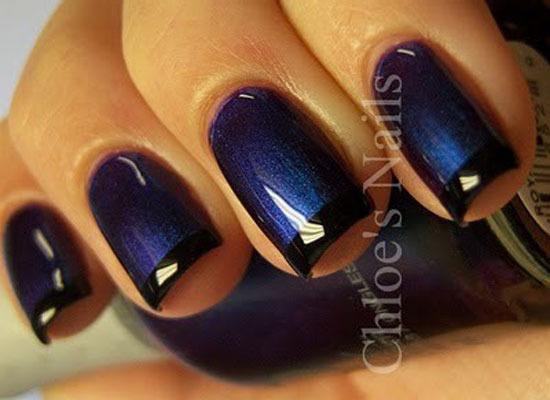 Маникюр на короткие ногти синий лак