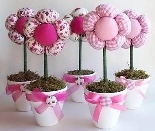 Текстильные цветы в горшочках