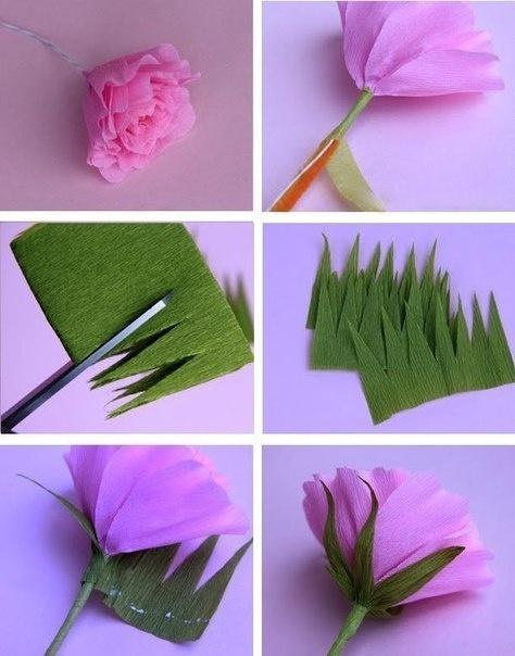 Цветы своими руками из гофрированной бумаги с детьми