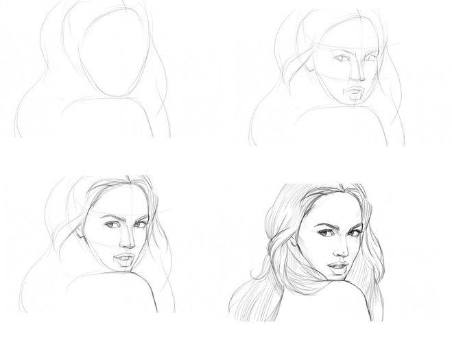 Как рисовать портрет девушки карандашом поэтапно с фото для начинающих
