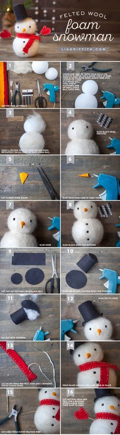 как сделать снеговика из шерсти, как свалять снеговика