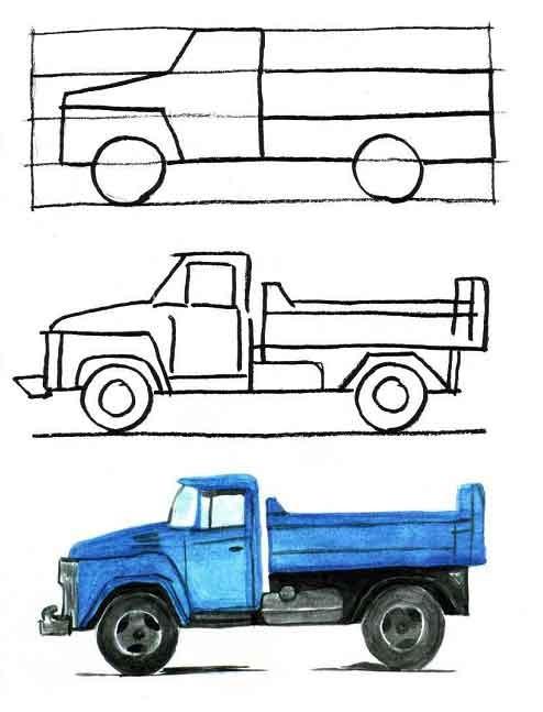 Как нарисовать прицепом карандашом поэтапно