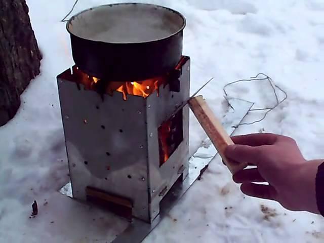 самодельная мини печка для рыбалки