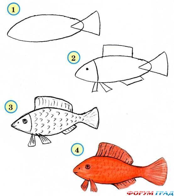Как нарисовать аквариум с рыбками поэтапно для детей